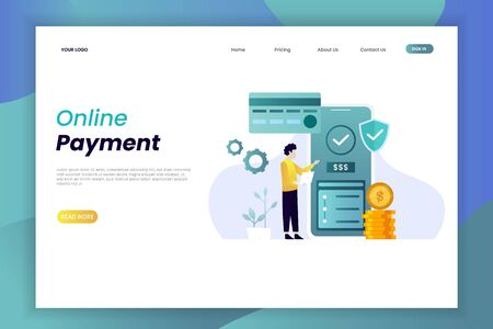 Online payment landing page illustration business finance e commerce concept. website design template. The design is easy to edit and can be used for landing pages, UI, mobile applications, posters