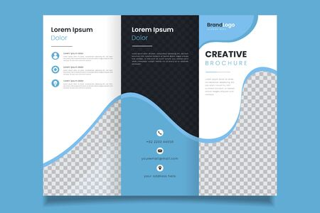 Professional design three fold blue business brochure template design Illusztráció