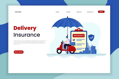 Flat design delivery insurance landing page template. The car above has an umbrella. Landing page template