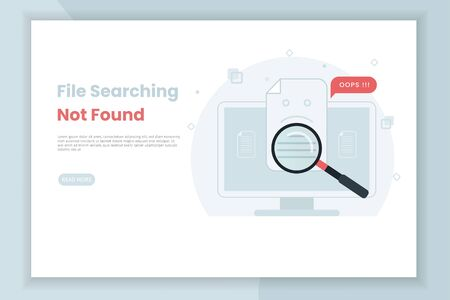 File search illustration not found. This design can be used for websites, landing pages, UI, mobile applications, posters, banners