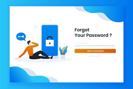 The man sat confused forgetting his password. This design can be used for websites, landing pages, UI, mobile applications, posters, banners