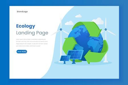 Ecology vector website landing page illustration concept with solar panel. This design can be used for websites, landing pages, UIs, mobile applications, posters, banners