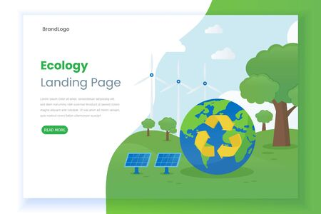 Flat ecology landing page. This design can be used for websites, landing pages, UIs, mobile applications, posters, banners