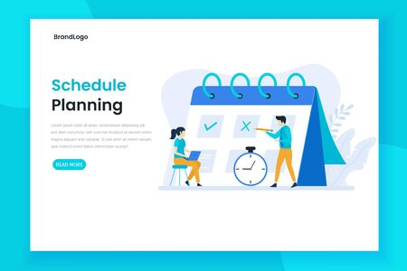 Planning schedule or time management landing page concept. Modern flat design for websites, landing pages, mobile applications, posters and banners Illustration