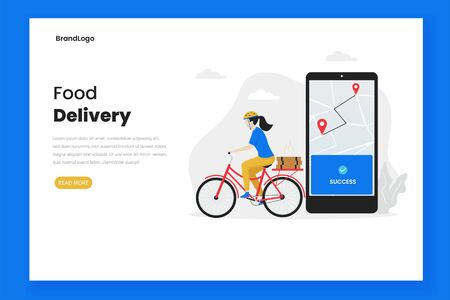 Food delivery illustration landing page, women send food using bicycle. Illustration for websites, landing pages, mobile applications, posters and banners