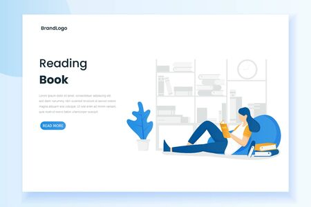 Women reading books illustration landing page. Illustration for websites, landing pages, mobile applications, posters and banners