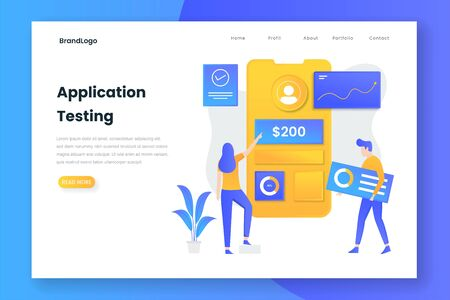 Flat design application testing landing page. Illustration for websites, landing pages, mobile applications, posters and banners. 向量圖像