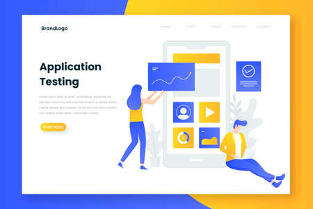 People testing application illustration concept. Illustration for websites, landing pages, mobile applications, posters and banners. 向量圖像