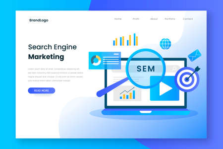 Search engine marketing landing page. Illustration for websites, landing pages, mobile applications, posters and banners.