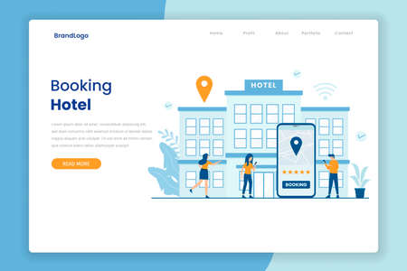 Hotel booking illustration landing page template. Illustration for websites, landing pages, mobile applications, posters and banners