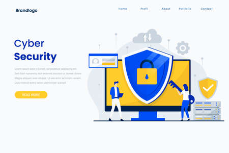 Cyber security landing page vector template. Illustration for websites, landing pages, mobile applications, posters and banners.