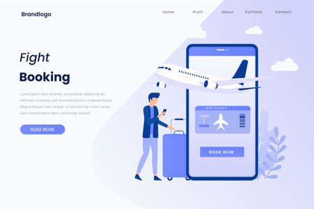 Flight tickets online booking illustration landing page. Illustration for websites, landing pages, mobile applications, posters and banners.