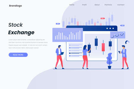 Stock exchange illustration landing page. This design can be used for websites, landing pages, UI, mobile applications, posters, banners