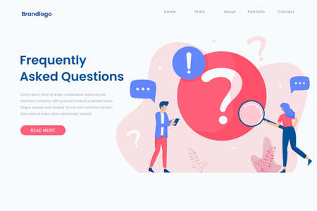 Landing page illustration of frequently asked question concept. This design can be used for websites, landing pages, UI, mobile applications, posters, banners