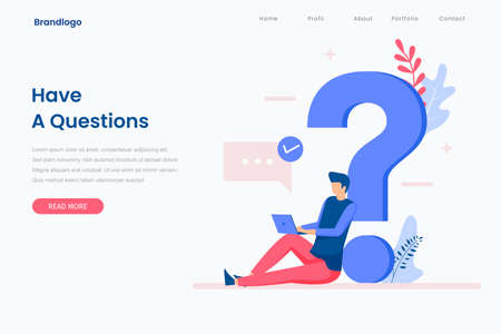 FAQ illustration landing page concept. That design can be used for websites, landing pages, UI, mobile applications, posters, banners