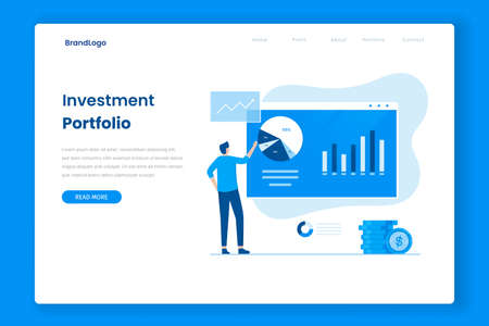 Portfolio investment vector landing page . Illustration for websites, landing pages, mobile applications, posters and banners.