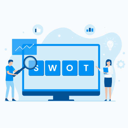 SWOT analysis flat vector concept. Illustration for websites, landing pages, mobile applications, posters and banners. Иллюстрация