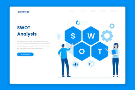 SWOT analysis flat vector landing page. Illustration for websites, landing pages, mobile applications, posters and banners. Иллюстрация