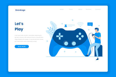 Landing page of playing video games. Illustration for websites, landing pages, mobile applications, posters and banners.