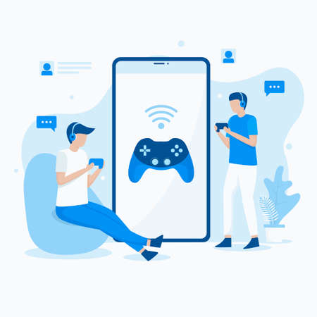 Flat illustration of playing mobile video games. Illustration for websites, landing pages, mobile applications, posters and banners. Иллюстрация