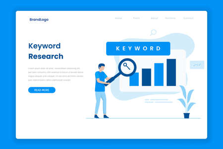 Keyword research tool landing page. Illustration for websites, landing pages, mobile applications, posters and banners. Иллюстрация