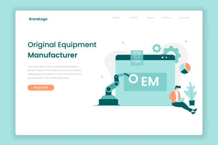 OEM landing page concept. Illustration for websites, landing pages, mobile applications, posters and banners. Иллюстрация