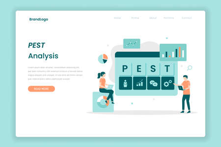 PEST Analysis landing page concept. Illustration for websites, landing pages, mobile applications, posters and banners. Иллюстрация