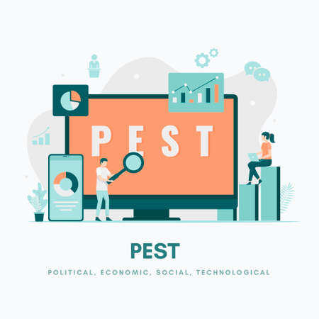 PEST Analysis Illustration concept. Illustration for websites, landing pages, mobile applications, posters and banners.