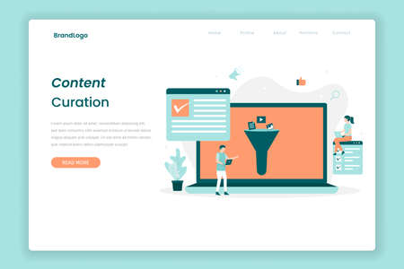 Content curation Illustration landing page. Illustration for websites, landing pages, mobile applications, posters and banners. Иллюстрация