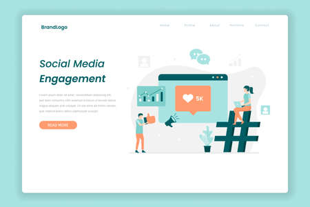 Social media engagement illustration landing page. Illustration for websites, landing pages, mobile applications, posters and banners.