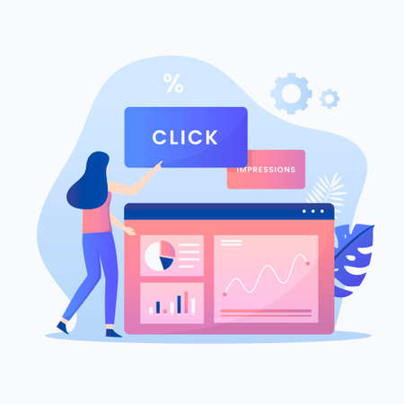 Click through rate illustration concept. Illustration for websites, landing pages, mobile applications, posters and banners. Иллюстрация