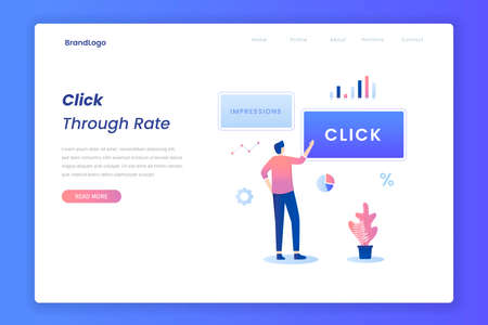 Click through rate illustration landing page. Illustration for websites, landing pages, mobile applications, posters and banners.