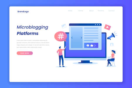 Microblogging illustration landing page. Illustration for websites, landing pages, mobile applications, posters and banners. Иллюстрация