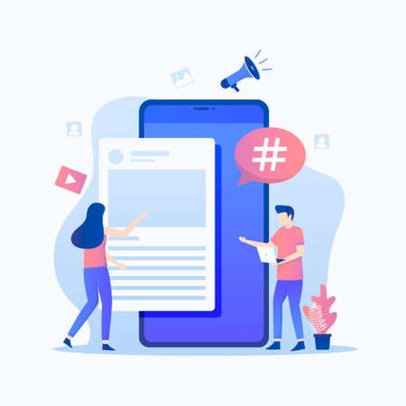 Microblogging illustration concept. Illustration for websites, landing pages, mobile applications, posters and banners. Иллюстрация