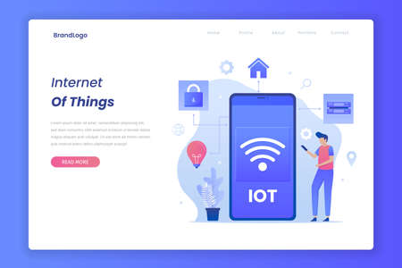 Landing page of internet of things concept.
