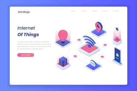 Internet of things isometric landing page concept.