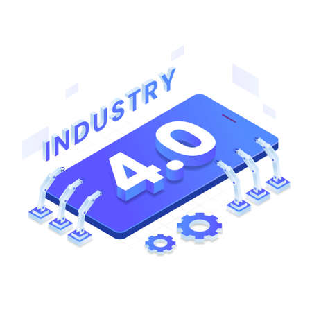Industry 4.0 vector isometric illustration concept. Illustration for websites, landing pages, mobile applications, posters and banners.