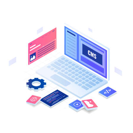 Content management system illustration concept. Illustration for websites, landing pages, mobile applications, posters and banners. Иллюстрация