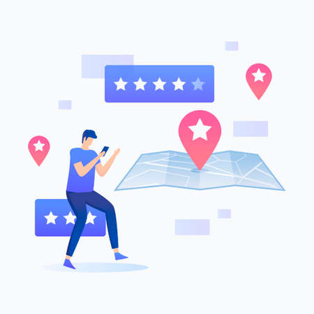 Man using smartphone with location rating illustration