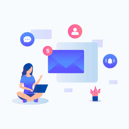 New notification illustration concept. Illustration for websites, landing pages, mobile applications, posters and banners. Иллюстрация