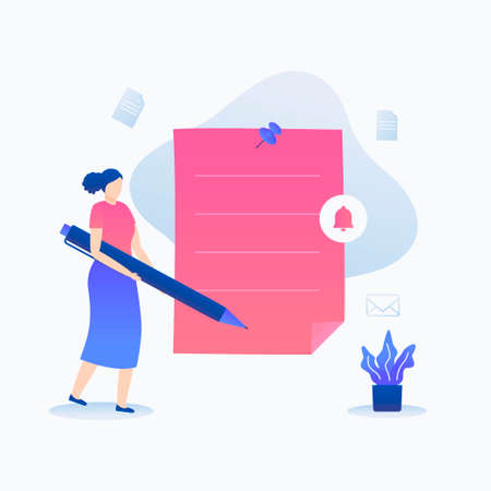 Women write memos on paper note illustration concept. Illustration for websites, landing pages, mobile applications, posters and banners.