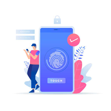 Fingerprint recognition technology vector concept. Illustration for websites, landing pages, mobile applications, posters and banners.
