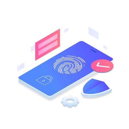 Fingerprint identity sensor isometric vector concept. Illustration for websites, landing pages, mobile applications, posters and banners. Иллюстрация