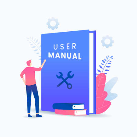 User manual book vector concept. Illustration for websites, landing pages, mobile applications, posters and banners.
