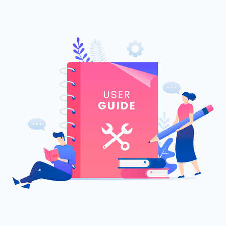 User manual book flat vector concept. Illustration for websites, landing pages, mobile applications, posters and banners. Иллюстрация