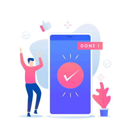 Done illustration vector concept. Illustration for websites, landing pages, mobile applications, posters and banners. Иллюстрация