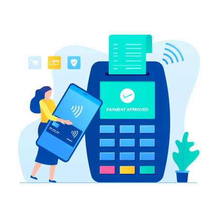 Contactless payment illustration concept with woman character. Illustration for websites, landing pages, mobile applications, posters and banners