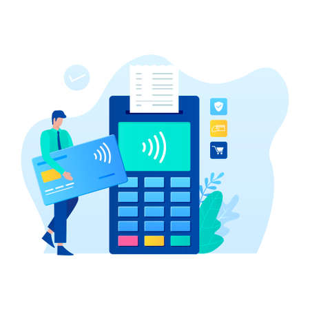 Contactless payment vector illustration concept. Illustration for websites, landing pages, mobile applications, posters and banners