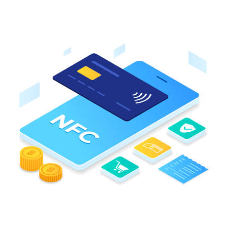 NFC Payment illustration isometric style. Illustration for websites, landing pages, mobile applications, posters and banners Иллюстрация