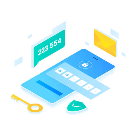 Authentication code illustration isometric style. Illustration for websites, landing pages, mobile applications, posters and banners.